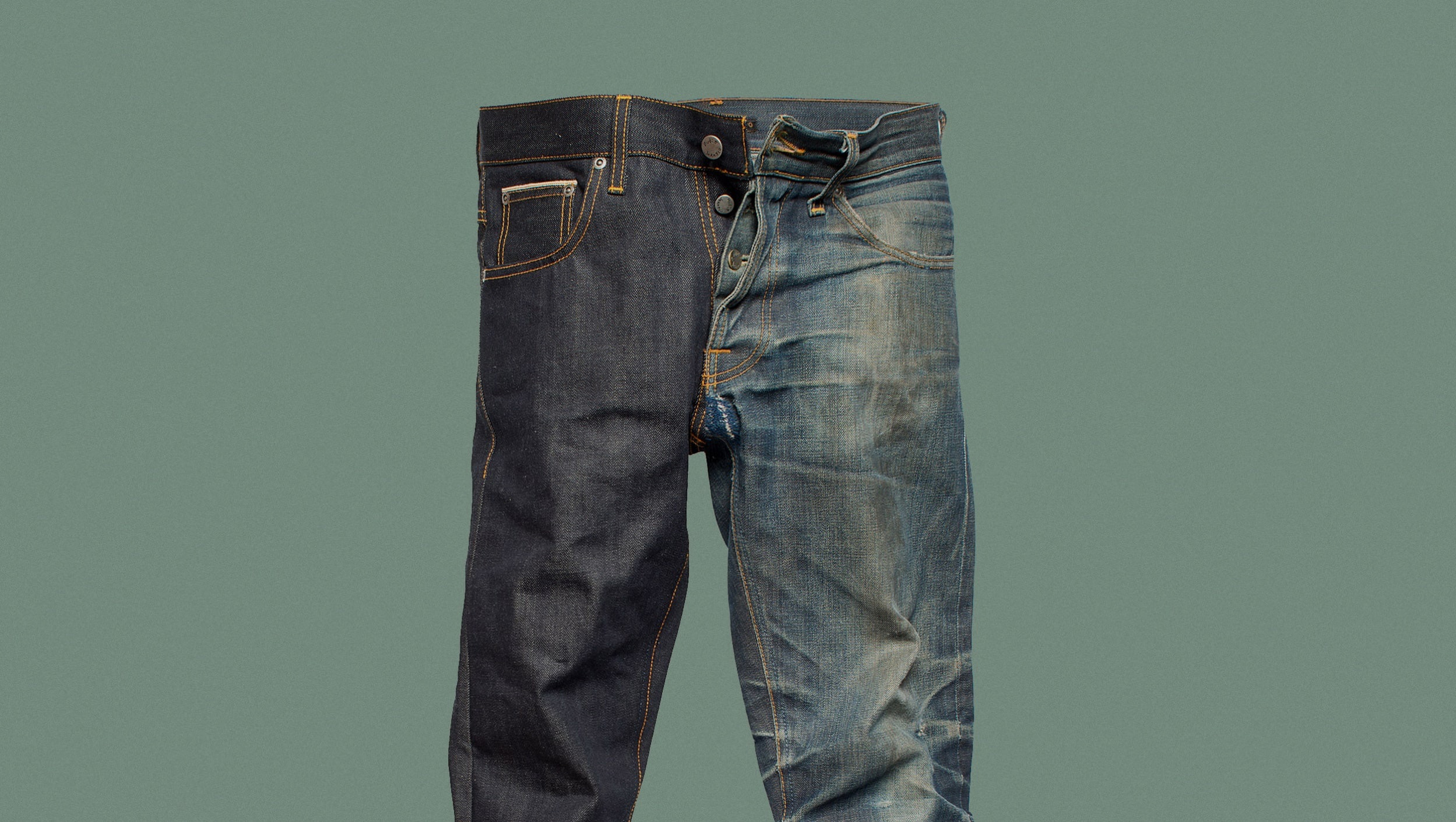 Dry  jeans  verus  a  worn  in  pair
