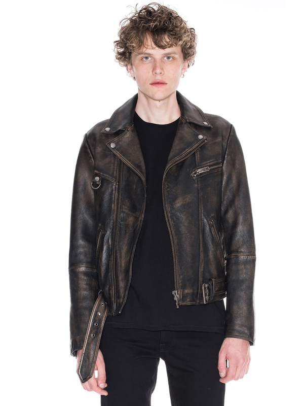 Ziggy Biker Worn Leather Black