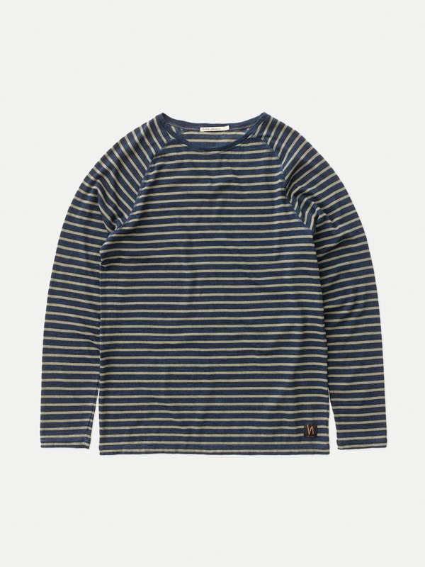 Otto French Stripe Indigo long-sleeved tees printed
