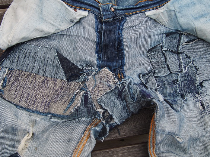 Patchwork denim inside.