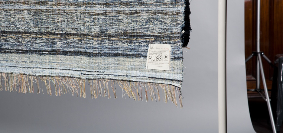 Rag rug made of worn out jeans