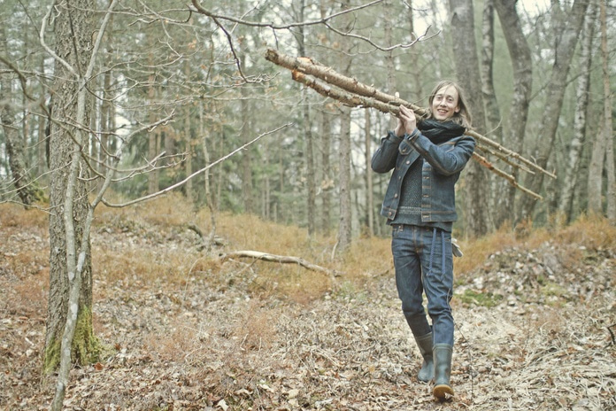 Joyful wood gatherer.